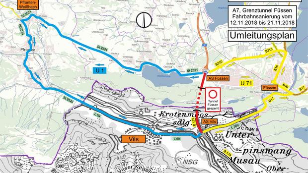 Umleitungsplan für die Sperre des Grenztunnels Füssen-Reutte.