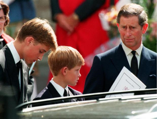 Prinz William, Prinz Harry und Prinz Charles bei der Beerdigung von Lady Di.