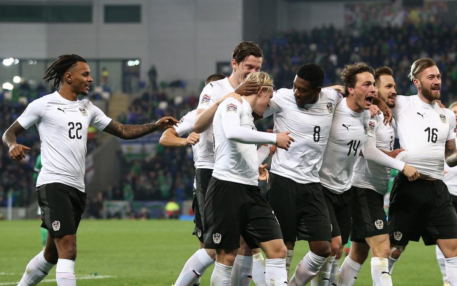 Lazar (l.) und Schlager (2.v.l.) erzielten die österreichischen Treffer beim Sieg in Belfast.
