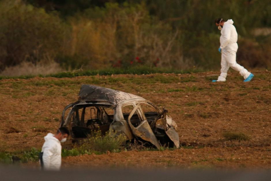 Das Auto, in dem Daphne Caruana Galizia saß, brannte völlig aus.