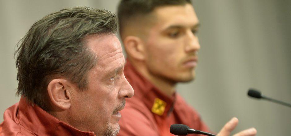 ÖFB-U21-Trainer Werner Gregoritsch (l.) hofft auf die Tore seines Stürmers Adrian Grbic.