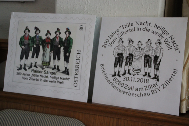 """Auch die """"Rainer Sänger"""" sind als Stille-Nacht-Botschafter auf einer Briefmarke verewigt."""