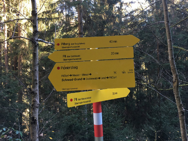 Wegweiser zeigen, in welchem Abschnitt der Pioniersteig-Tour man sich gerade befindet.
