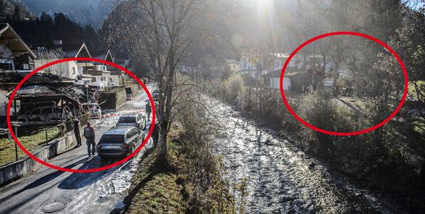 Nur einen Steinwurf entfernt: rechts der Schuppen, der am 23. Oktober ausbrannte, links der Carport, in der Mitte die Kundler Ache.
