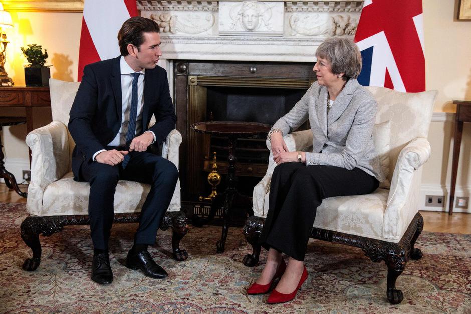 Österreichs Kanzler Sebastian Kurz traf bezüglich Brexit als derzeitiger EU-Ratsvorsitzender mit der britischen Premierministerin Theresa May zusammen.
