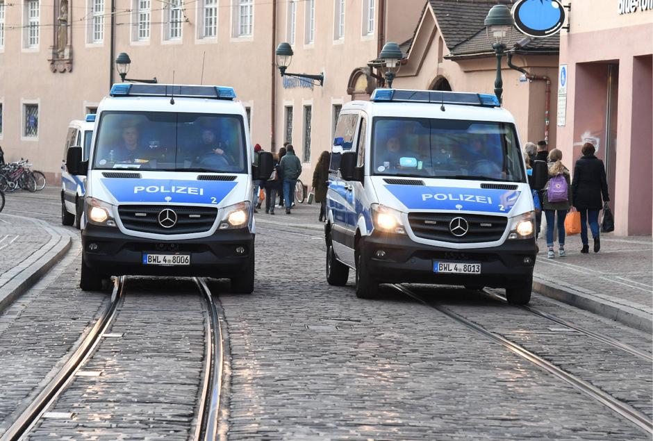 Verstärkte Polizeipräsenz in Freiburg.