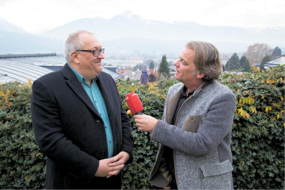 Dr. Wolfram Rosenberger im Gespräch mit TT-Volkskultur-Leiter Hubert Trenkwalder.