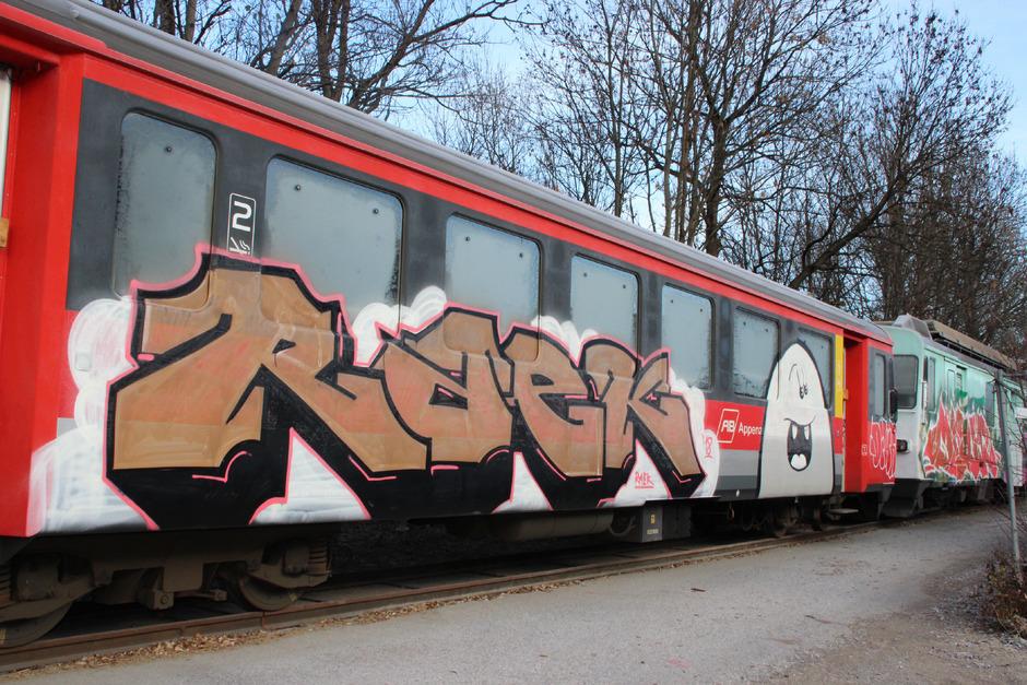 Fünf Wagen der ehemaligen Appenzeller Bahnen, die von der Achenseebahn heuer erworben wurden, sind von der nächtlichen Spray-Aktion betroffen.