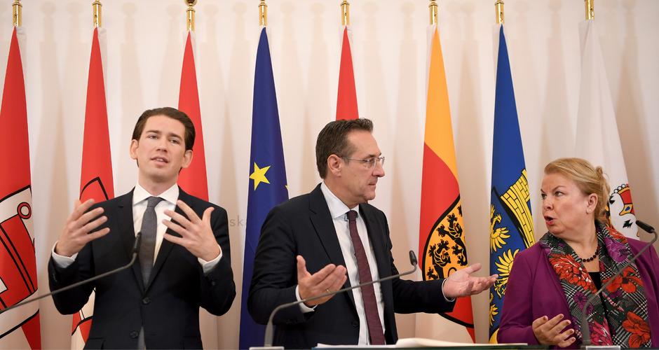 Kanzler Sebastian Kurz (ÖVP), Vizekanzler Heinz Christian Strache (FPÖ) und Sozialministerin Beate Hartinger-Klein (FPÖ).