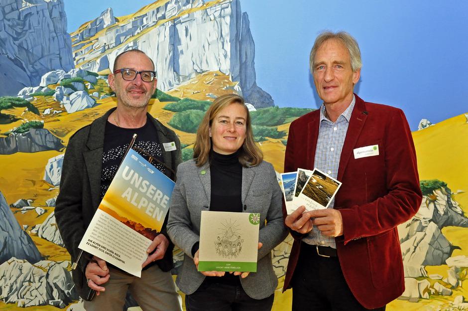 Ein Alpenvereinstrio, das aufrütteln will: Gerold Benedikter, Liliana Dagostin, Robert Renzler.