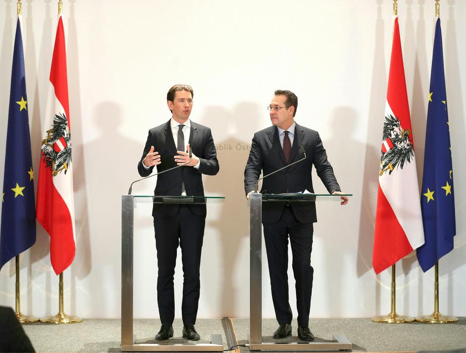 Ein gewohntes Bild seit zwölf Monaten: Kanzler Kurz und Vizekanzler Strache vermitteln Gleichschritt und Gleichklang.