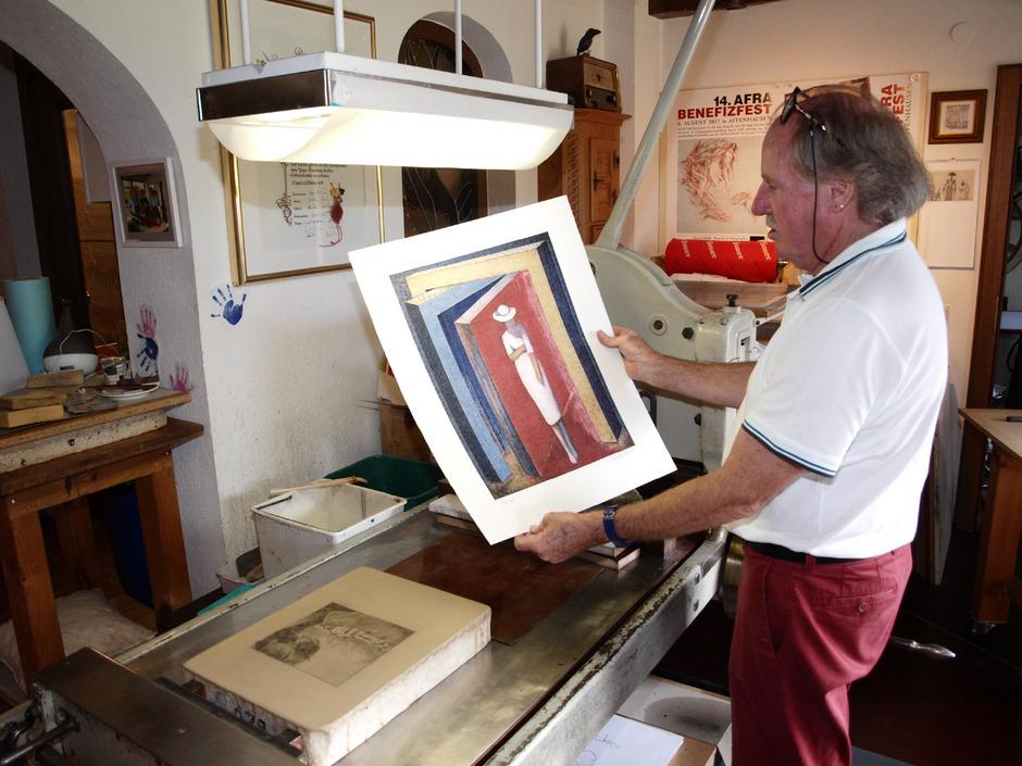 """Die Lithografie von Leander Kaiser """"Ich fürchte nicht"""" war sehr gefragt und kurz nach der Präsentation ausverkauft."""