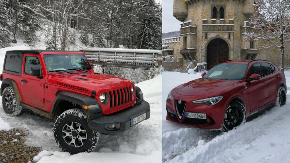Schnee bringt sie nicht aus dem Konzept: den neuen Jeep Wrangler und die Quadrifoglio-Version des Alfa Romeo Stelvio.