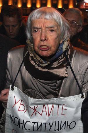 Die Aktivistin bei einem Protest 2009 in Moskau.