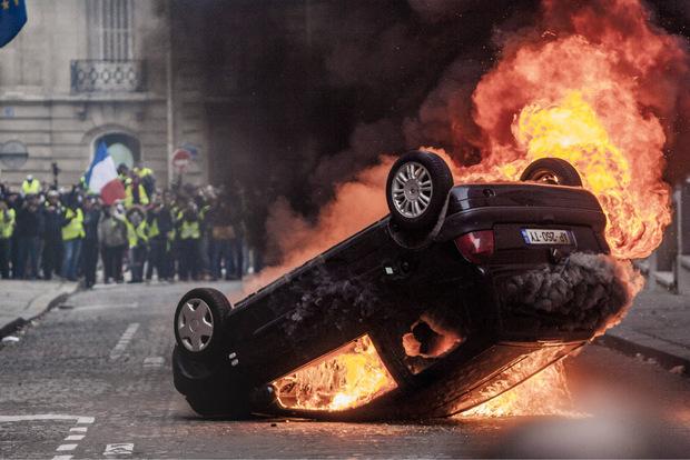 Bei den Protesten war es in Frankreich am Samstag erneut zu Ausschreitungen gekommen.