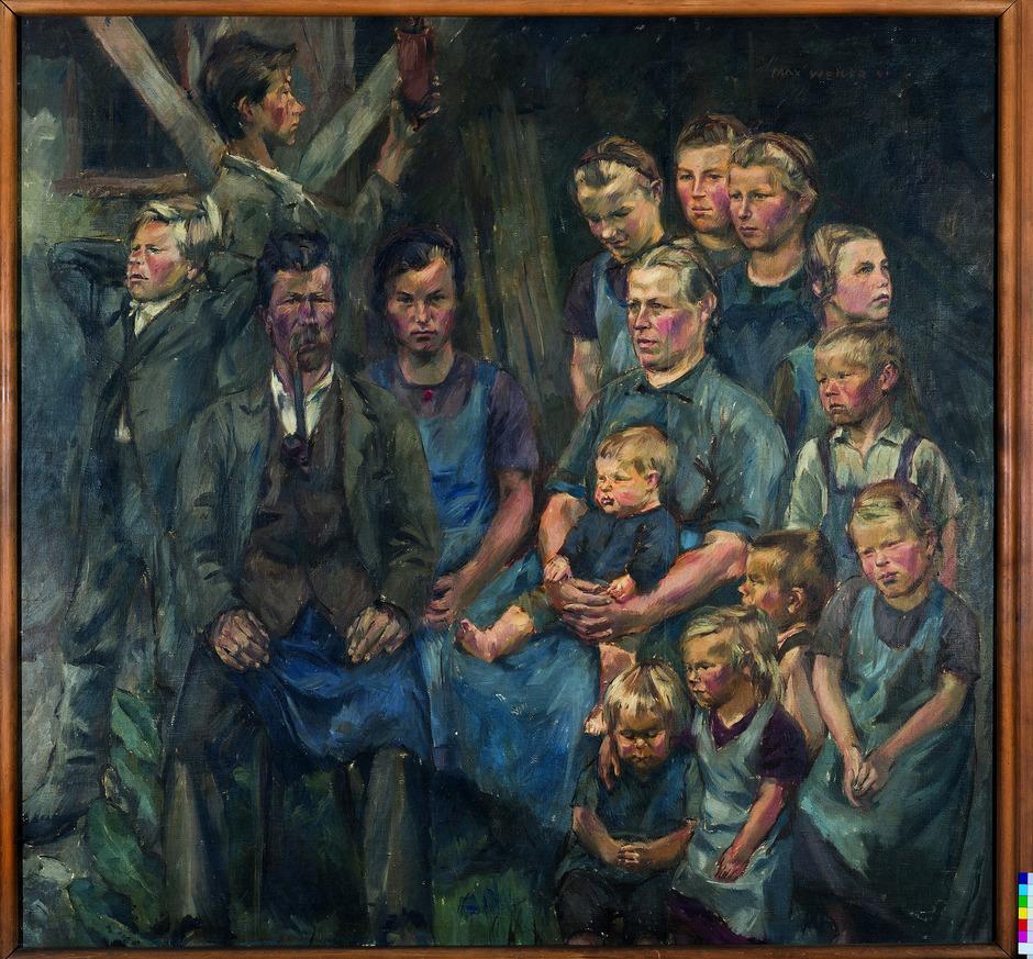 """Hing in der Gaukunstausstellung von 1942 im Ferdinandeum: Max Weilers """"Osttiroler Bauernfamilie""""."""