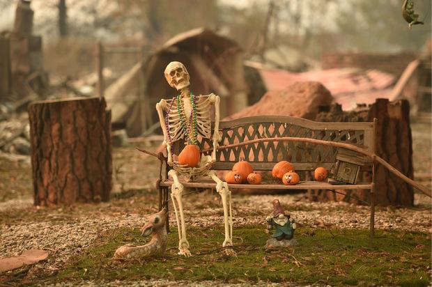 Makaberer Anblick: Eine Halloween-Dekoration hat dem Feuer getrotzt.