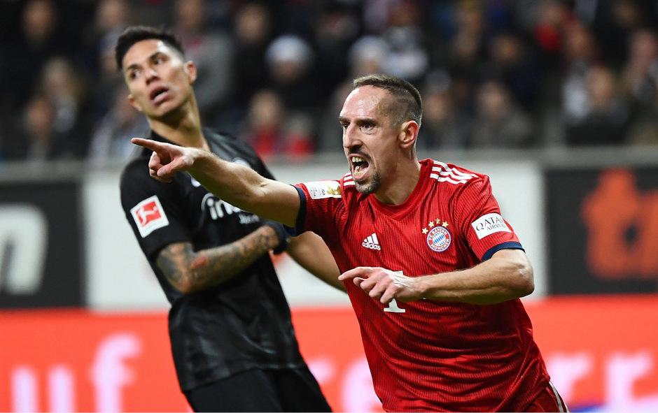 Doppeltorschütze Franck Ribery sorgte für einen gelungenen Bayern-Abend in Frankfurt.