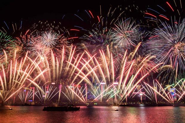 In Hongkong gab es ein Feuerwerk zum Jahreswechsel. Das chinesische Neujahrsfest ist aber erst im Februar.