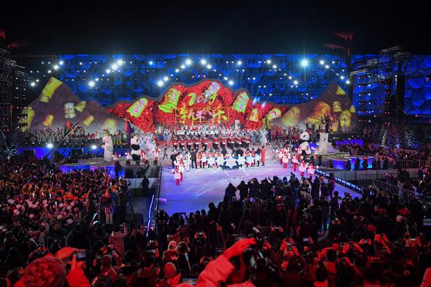 In Peking gab es eine Show zum Jahreswechsel.