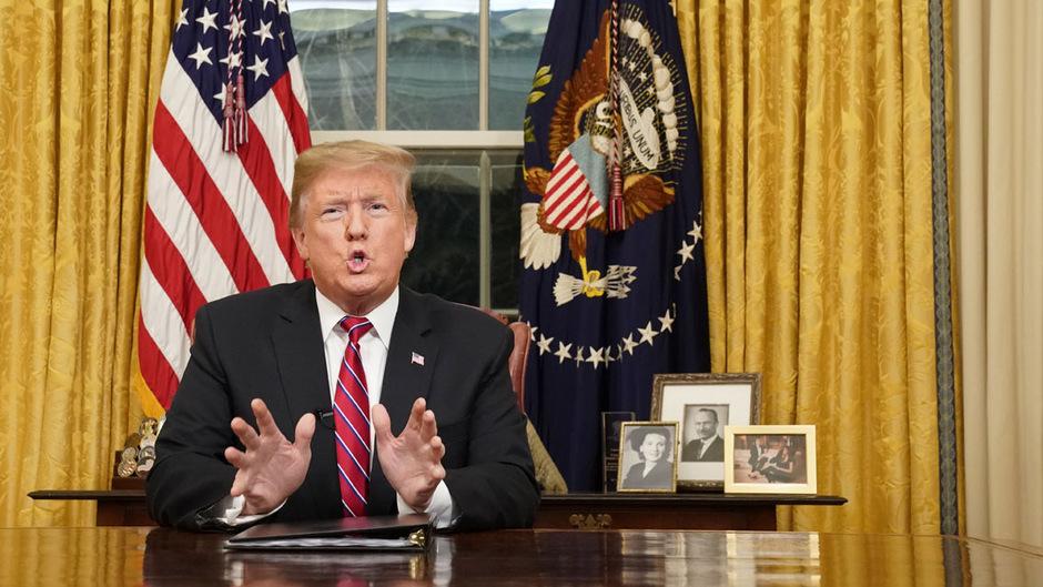 US-Präsident Donald Trump verwies in seiner Rede an die Nation darauf, wie gefährlich der Marsch für Migranten ist, die sich aus Lateinamerika auf den Weg in die USA machten.