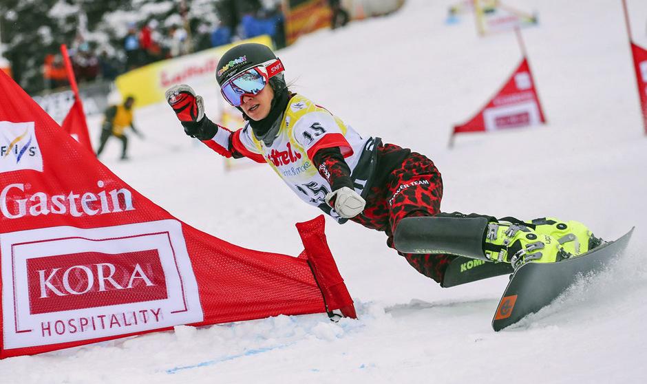 Daniela Ulbing carvte im Teambewerb gemeinsam mit Benjamin Karl zum Sieg.