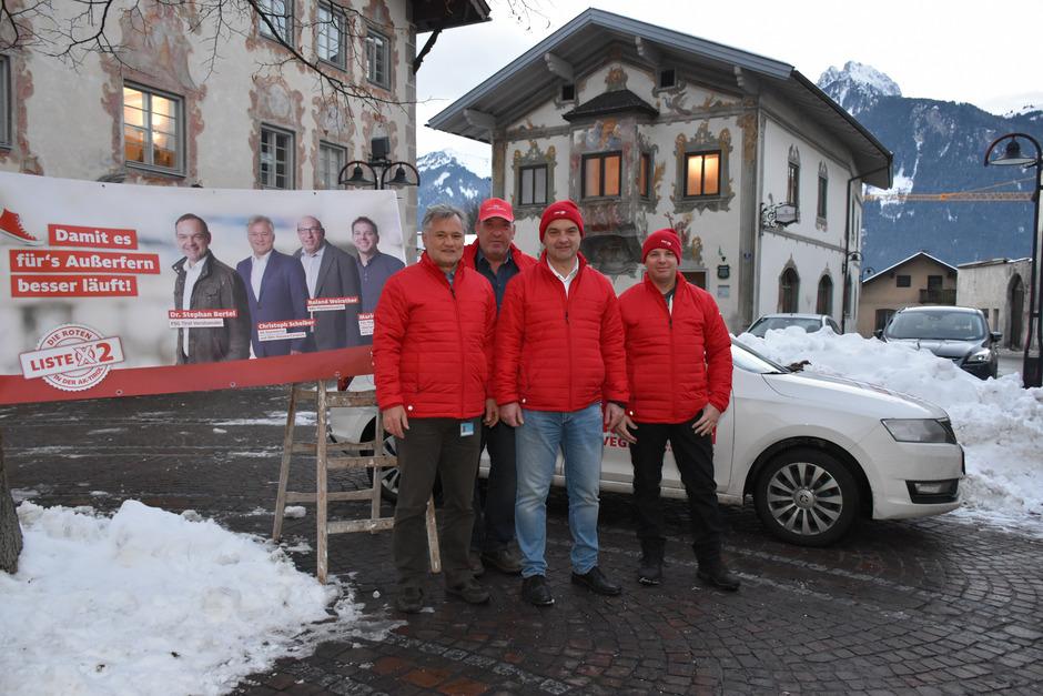 Die FSG-Kandidaten (v.l.): Christoph Scheiber (AK-Kammerrat und BRV Plansee/Ceratizit), Roland Weirather (BRV Plansee/Ceratizit), Stephan Bertel (FSG-Landeschef) und Mario Strigl (BRV Schretter & Cie).