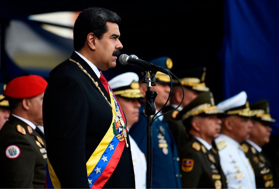 Nicolas Maduro hielt nach seiner Vereidigung eine Rede.