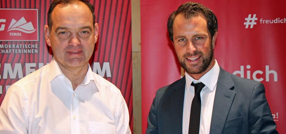 Georg Dornauer (2.v.l.) will mit seinem Spitzenkandidaten Stephan Bertel bei der AK-Wahl voll punkten.