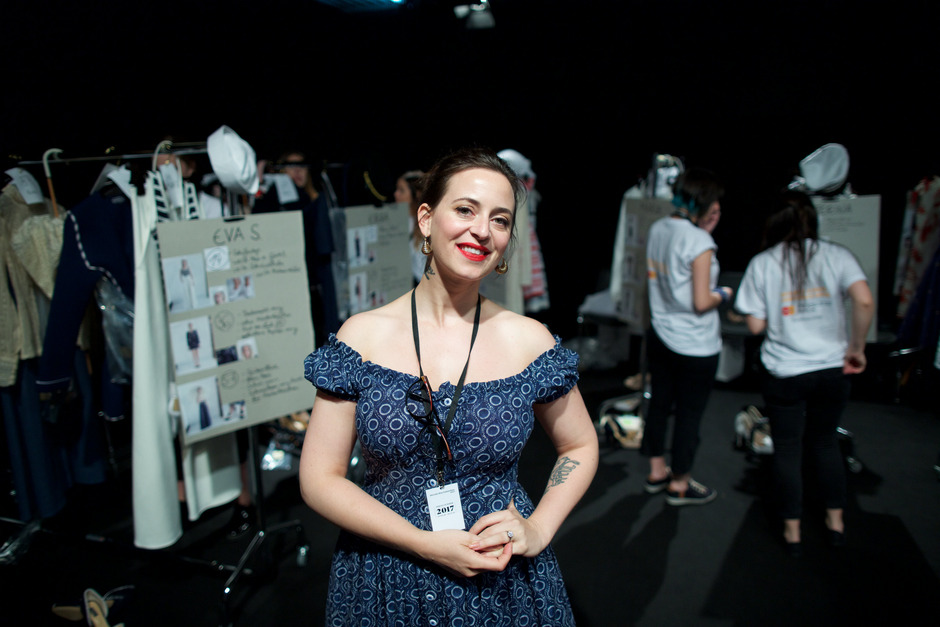 Designerin Lena Hoschek bei der Berliner Fashion Week 2016.