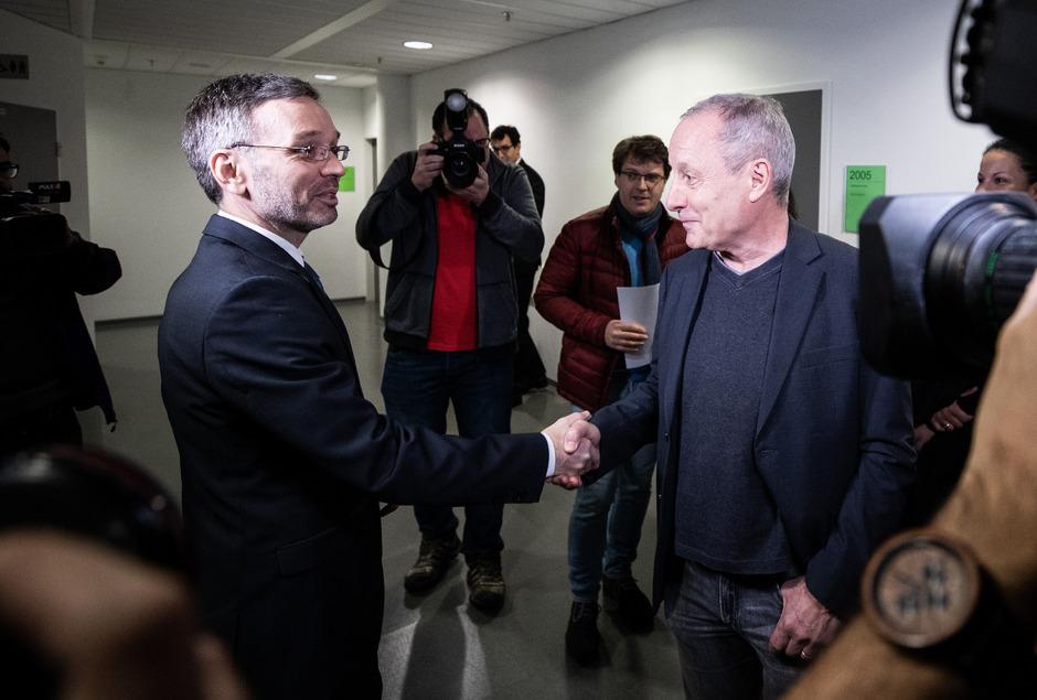 Innenminister Herbert Kickl (FPÖ) und Abg. Peter Pilz (Jetzt) sahen sich am Montag vor Gericht.