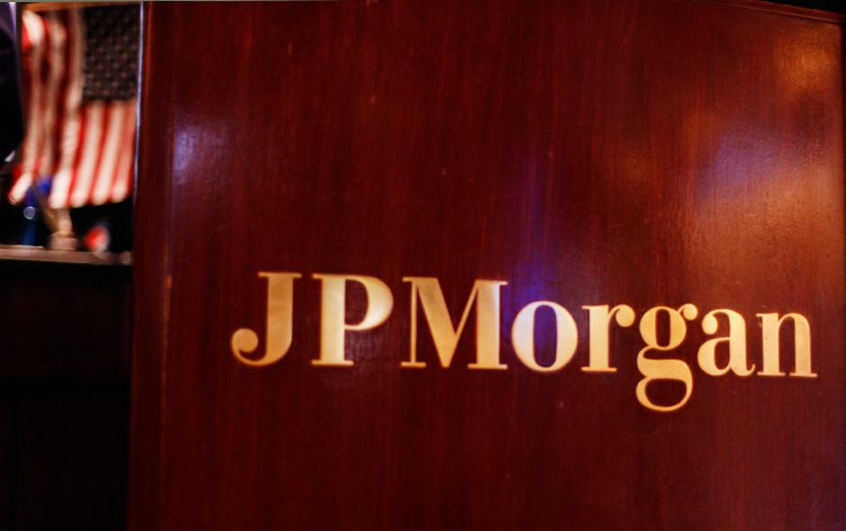 JP Morgan-Schriftzug in der New Yorker Börse.