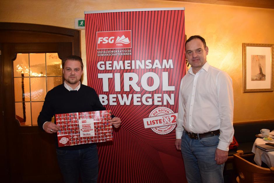 Kammervorstand Bernhard Höfler und FSG-Spitzenkandidat Stephan Bertel (r.) machten auf ihrer Wahlkampftour Halt in Kundl.