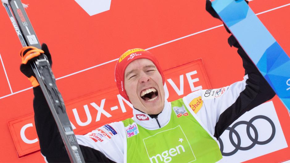 Franz-Josef Rehrl jubelte über seinen ersten Weltcupsieg.