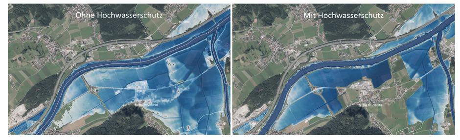 Ohne Hochwasserschutz stehen 60 Prozent des Siedlungsgebiets von Strass bei einem 100-jährlichen Hochwasser bis zu drei Meter unter Wasser.