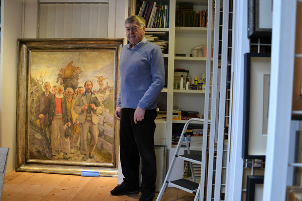 """Ein besonderes Werk in der Sammlung von Erich Mair ist die """"Prozession Matrei 1925"""" des deutschen Malers Franz Eichhorst, dessen Bilder in der NS-Zeit großen Anklang fanden."""