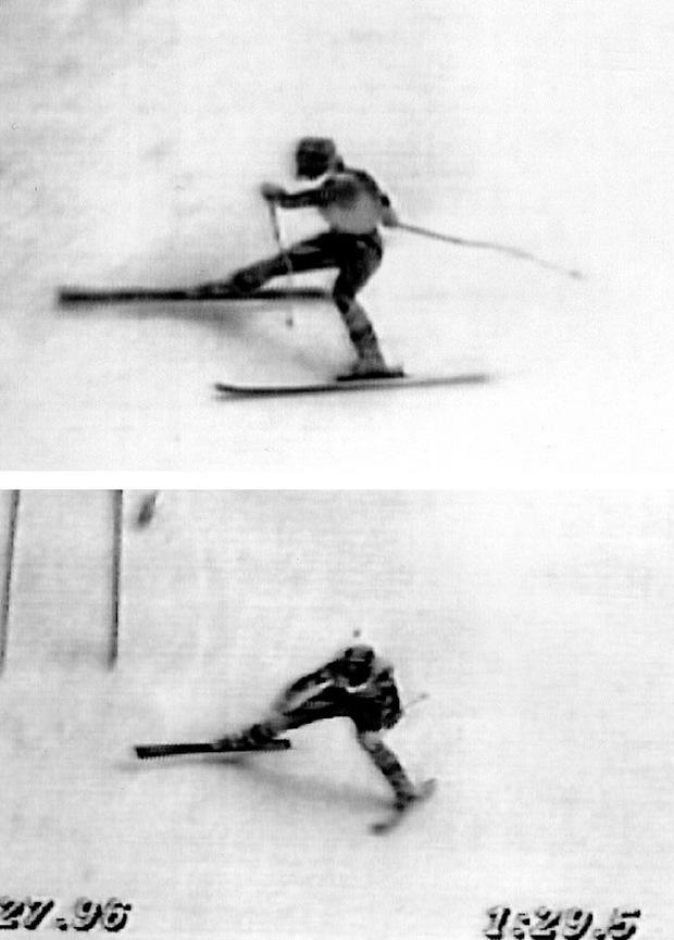 Die Bilder gruben sich ins Gedächtnis Tausender TV-Zuschauer: Maiers rechter Ski verschnitt und sie stürzte bergwärts gegen einen Schneekeil.