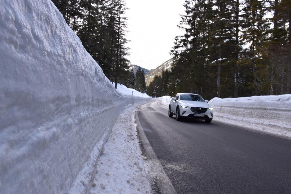 """Mit Schneefräsen wurde im Ammerwald eine Art """"Weißkanal"""" auf fast neun Kilometern Länge zwischen Plansee und deutscher Grenze geschaffen."""