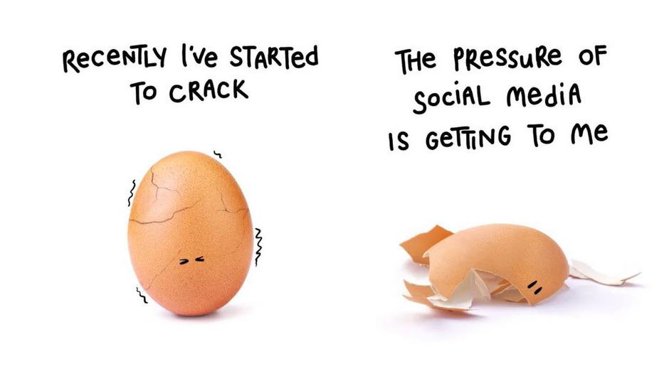 """""""Der Druck sozialer Netzwerke macht mir zu schaffen"""", sagt das Ei in dem kurzen Clip."""