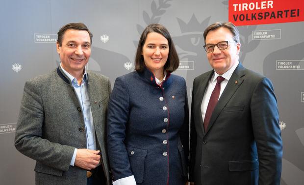 Ein Zusammenrücken der Bünde für EU-Kandidatin Barbara Thaler forderten VP-Manager Martin Malaun (l.) und LH Günther Platter.