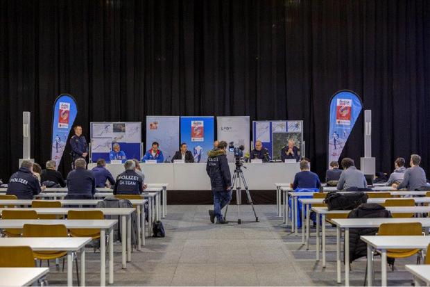 Das Medienzentrum in der WM-Halle wurde am Dienstag inoffiziell eröffnet.
