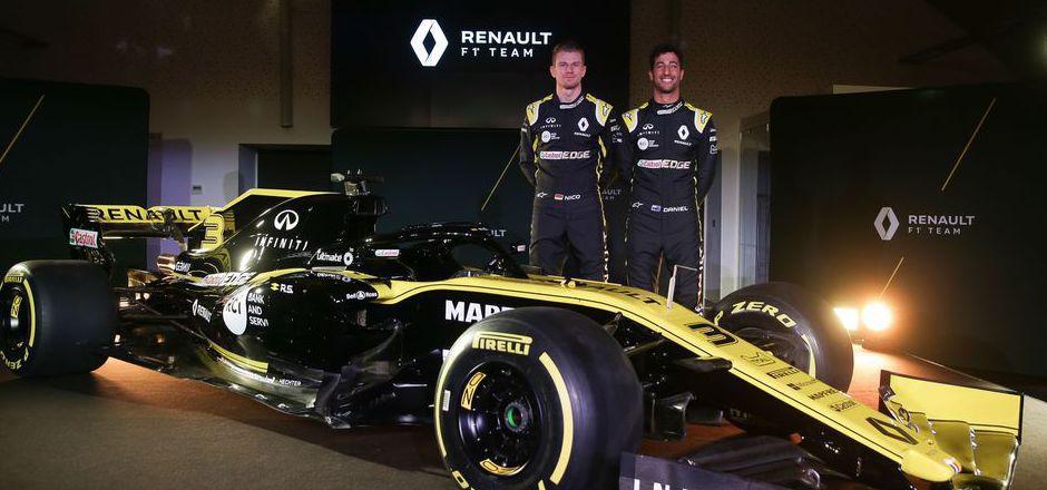 Nico Hülkenberg (l.) und Daniel Ricciardo wollen dieses Jahr mit Renault durchstarten.