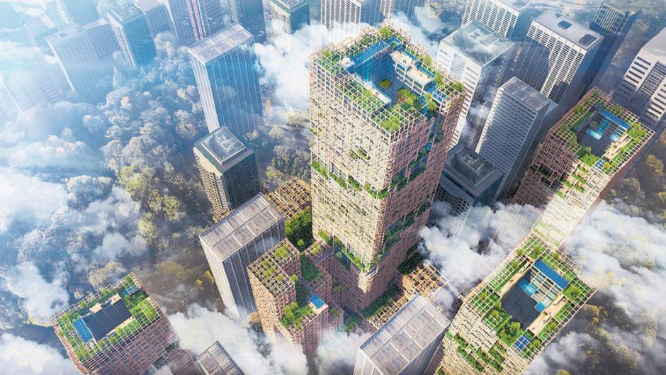 Ein japanisches Holzunternehmen plant für ihr 350-Jahr-Firmenjubiläum in Tokio ein 350 Meter hohes Gebäude aus Holz. 2041 soll das 4,8 Milliarden Euro teure Projekt stehen.