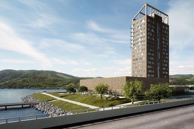 """Der """"Mjøsa Tower"""" in Norwegen war bei der Planung 80,2m. Um den Rekord zu brechen, kommt er nach der Fertigstellung auf 85,4 Meter."""