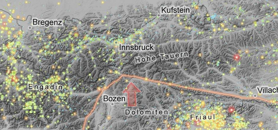 Die Punkte markieren Beben, die bis ins Mittelalter zurückreichen. Häufungen zeigen, wo sich die Erdkruste öfter durch Brüche verformt.