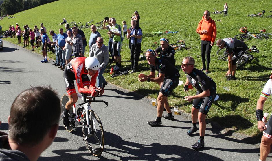 Georg Preidler landete beim Einzelzeitfahren bei der Heim-WM in Tirol auf Platz 36.