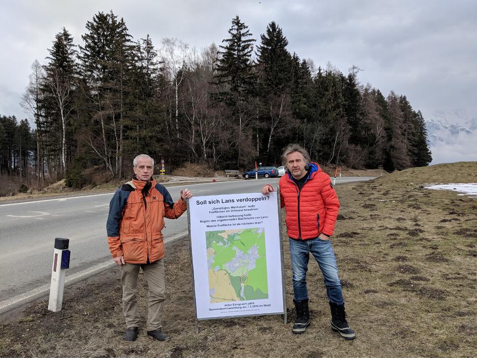 Rainer Patek (l.) und Christian Schubert warnen vor einer Ullbichl-Verbauung und rapidem Wachstum.