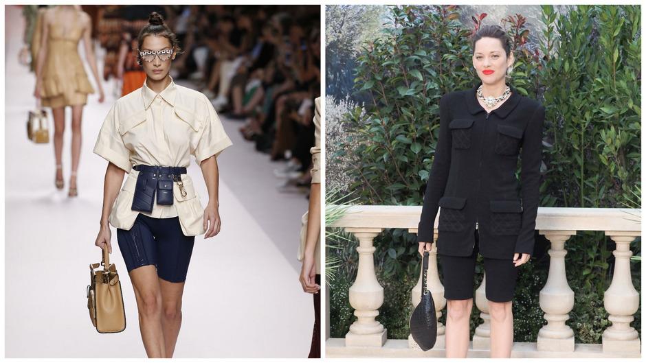 Supermodel Bella Hadid lief für Fendi in blauer Radler über den Laufsteg (l.). Bei Chanel wurde die Radler mit edlem Blazer aufgewertet.