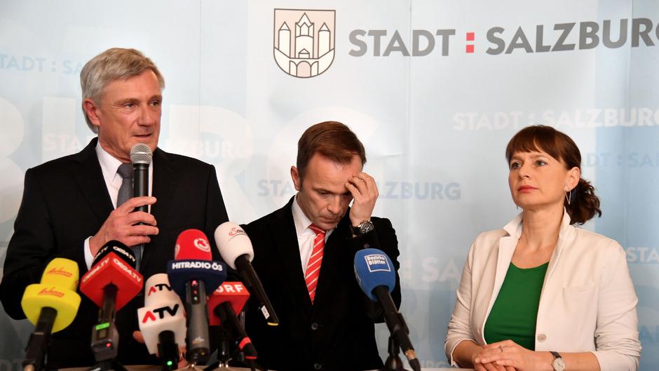 Sieg und Niederlage: Harald Preuner (ÖVP), Bernhard Auinger (SPÖ), Martina Berthold (Bürgerliste).