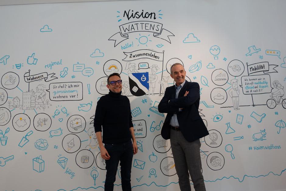 """GF Matthias Neeff (Destination Wattens, l.) und BM Thomas Oberbeirsteiner laden die Bevölkerung zur aktiven Beteiligung an der """"Vision Wattens"""" ein."""